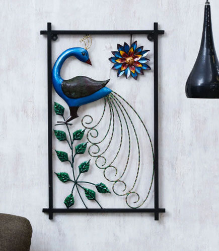 Multicolor Metal Peacock Decorative Wall Art