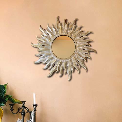 Buy Golden Metal Decorative Mirror Wall Artefacts Online Round Mirrors
